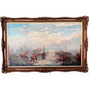 Antique Venice Seascape, Oil on Canvas, Francis Moltino, Artist (1818 - 1874)