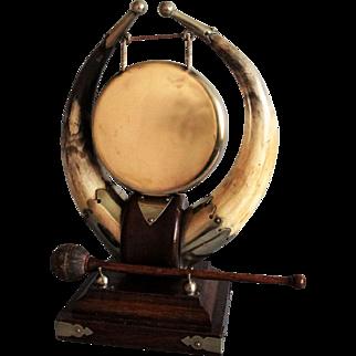 Antique English Horn Table Gong, Edwardian, Circa 1910
