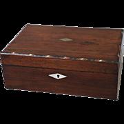 19th-C English Mahogany Box with Shell Inlay