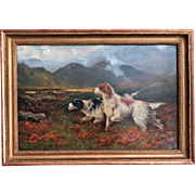 Antique Sporting Dogs Oil Painting, Robert Cleminson