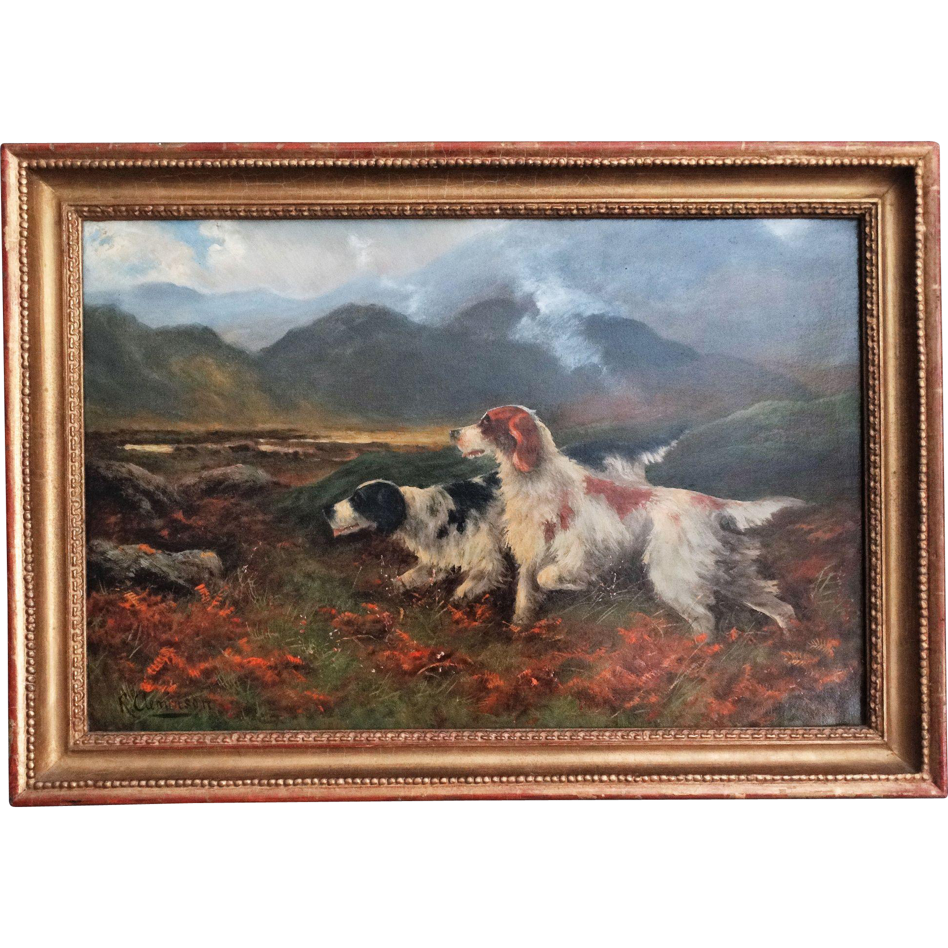 Antique Sporting Dogs Oil Painting Robert Cleminson From