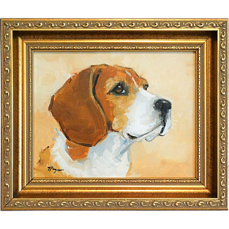 Beagle Dog Portrait Oil on Canvas