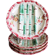 Antique French Longchamp Majolica Asparagus Plates, Set of 4