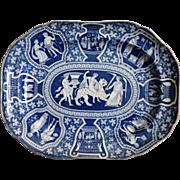 Antique Spode Platter, Classic Greek Pattern, Blue & White, Circa 1810