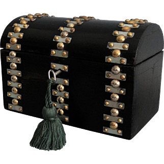 Antique Ebonized Box, Lock & Key, Mother of Pearl