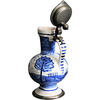 Antique Dutch Delft Pitcher, Mounted Pewter, 18th-Century