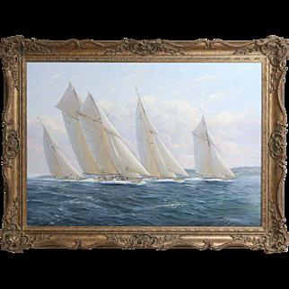 Yacht Race Nautical Oil Painting, Michael James Whitehand, Marine, Seascape