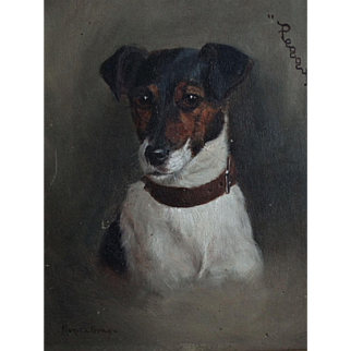 Jack Russell Terrier Dog, 'Peggy' by Monica Gray, Oil on Canvas