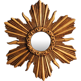 Carved Gilt Wood Sunburst Mirror
