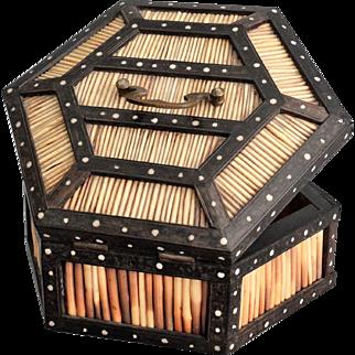Antique Ebonized Quill & Bone Box