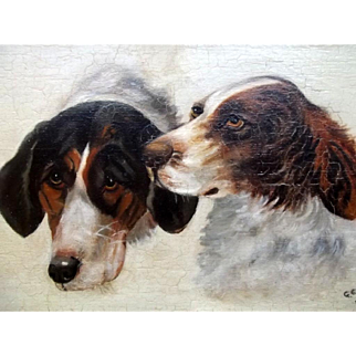 Antique Sporting Dogs Portrait Oil Painting