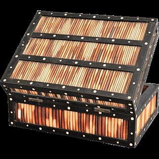19th-C Ebonized Quill & Bone Box