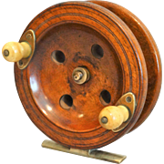Circa 1920 Large Walnut Fishing Reel, English