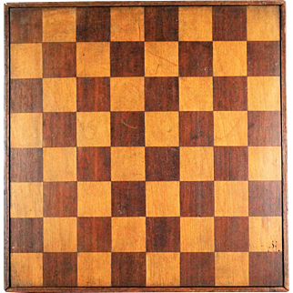 Antique Double Sided Inlay Checker / Chess Game Board