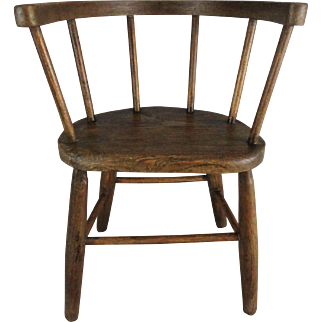 Antique 19th-Century English Elm Child's Bent Wood Chair