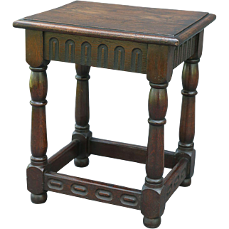 Antique English Oak Joint Stool Footstool