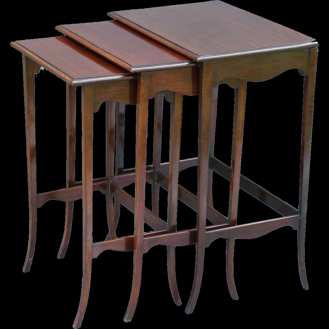 Charming French Mahogany Nesting Tables, Set Of 3