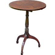 Antique English Elm Pedestal Tilt Top Table