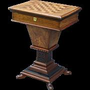 Antique Figured Burr Walnut Games & Work Table