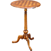 French Inlay Pedestal Game Table