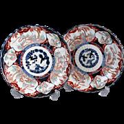 Antique Japanese Imari Porcelain Chargers, Pair