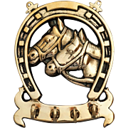 C. 1930 English Brass Equestrian Wall Hanger with Hooks