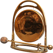 1930 English Edwardian Brass Table Gong
