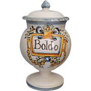 Vintage Italian Footed Apothecary Jar with Lid, Hand Painted