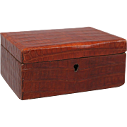 Antique English Crocodile Skin Jewelry Box