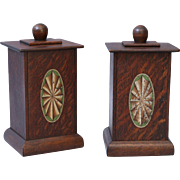 English Oak Lidded Box with Faux Inlay, Pair