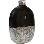 English Silver & Leather Liquor Flask