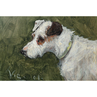 Terrier Dog Antique Oil On Board, G Paice