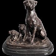 Bronze Boxer Dog & Pups Figural Sculpture
