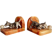 English Art Deco Bronze & Marble Scottie Dog Bookends