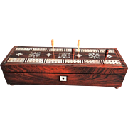 Antique Rosewood Cribbage Game with Mother of Pearl
