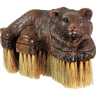 Antique Black Forest Carved Bear Clothes Brush