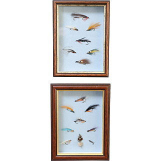 Framed English Fly Fishing Flies - A Pair