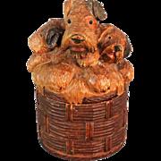 Antique Black Forest Carved Scottish Terrier 'Scottie' Dogs Box