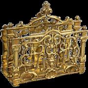French Art Nouveau Brass Letter Rack