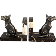 French Art Deco Marble & Bronze Dog Bookends