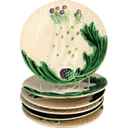 Antique French Majolica Asparagus Plate, 6 Available