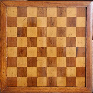 Large Antique English Game Board, Checker / Chess / Nine Men Morris