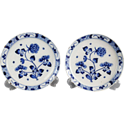 18th-Century Chinoiserie Delft Plates, Pair