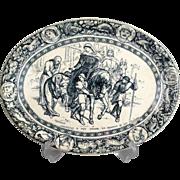 Antique Wedgwood Ivanhoe Tansfer Ware Platter, Sir Walter Scott