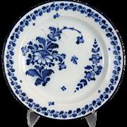 Antique Delft Floral Plate, Hand Painted