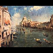 Grand Canal Venice, Italian School Impressionism Oil Painting