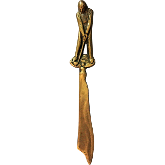 English Brass Figural Golfer Letter Opener