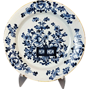 Antique Delft Chinoiserie Plate, 18th-Century Faience
