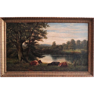 Antique Landscape with Cattle Oil on Canvas Painting