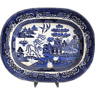 Antique Staffordshire Platter, Blue Willow